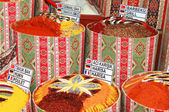 Spices bags on spice bazaar in Turkey — Stock Photo