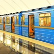 Subway station in Kiev underground - Stock Photo