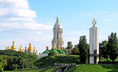 Kiev-Pechersk Lavra monastery and Memorial to sacrifice of famine in Kiev. — Stock Photo