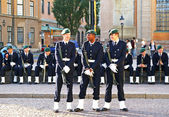 STOCKHOLM, SWEDEN - JULY 1: Soldiers are waiting changing of the — Stock Photo