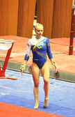 "Evgeniya Cherniy (Ukraine) prepares to do exercises at sporting gymnastics ""Cup of Olympic Champion Stella Zakharova"" — Stock Photo"