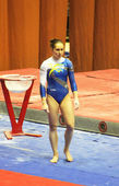 "Alina Fomenko (Ukraine) prepares to do exercises at sporting gymnastics ""Cup of Olympic Champion Stella Zakharova"" — Stock Photo"