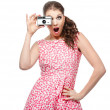 Retro camera girl - Stock Photo