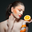 Orange girl - Stock Photo