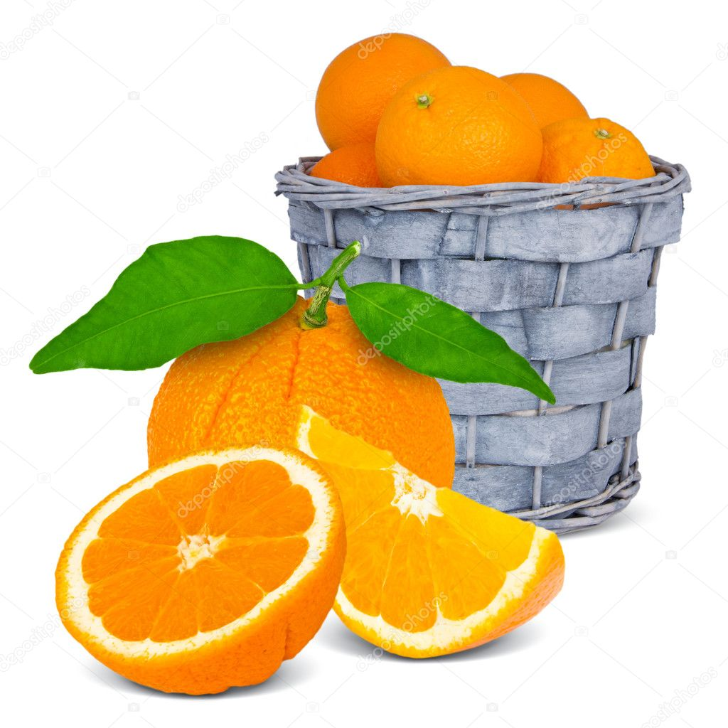 Basket with oranges isolated on white — Stock Photo #10272188