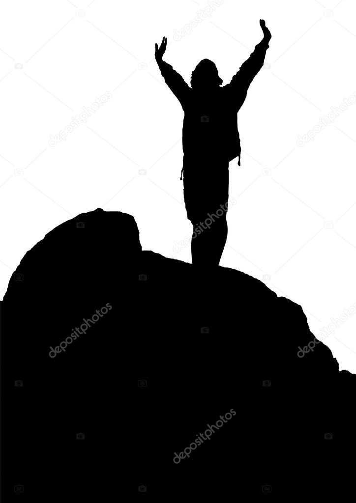 Silhouette of hiker standing on the rock - vector illustration  Stock Vector #8921016