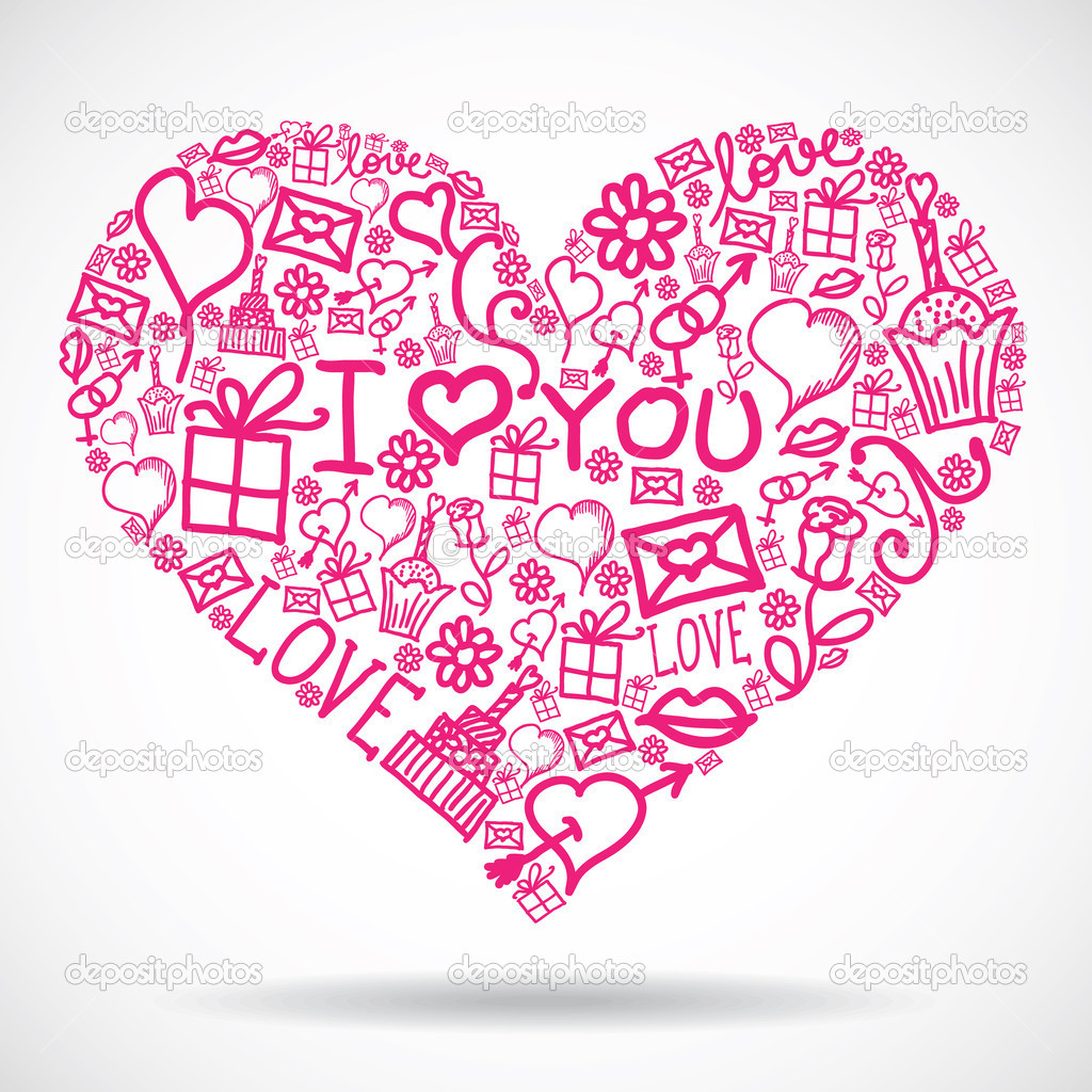 Heart made of Valentine symbols  Stock Vector #8927142