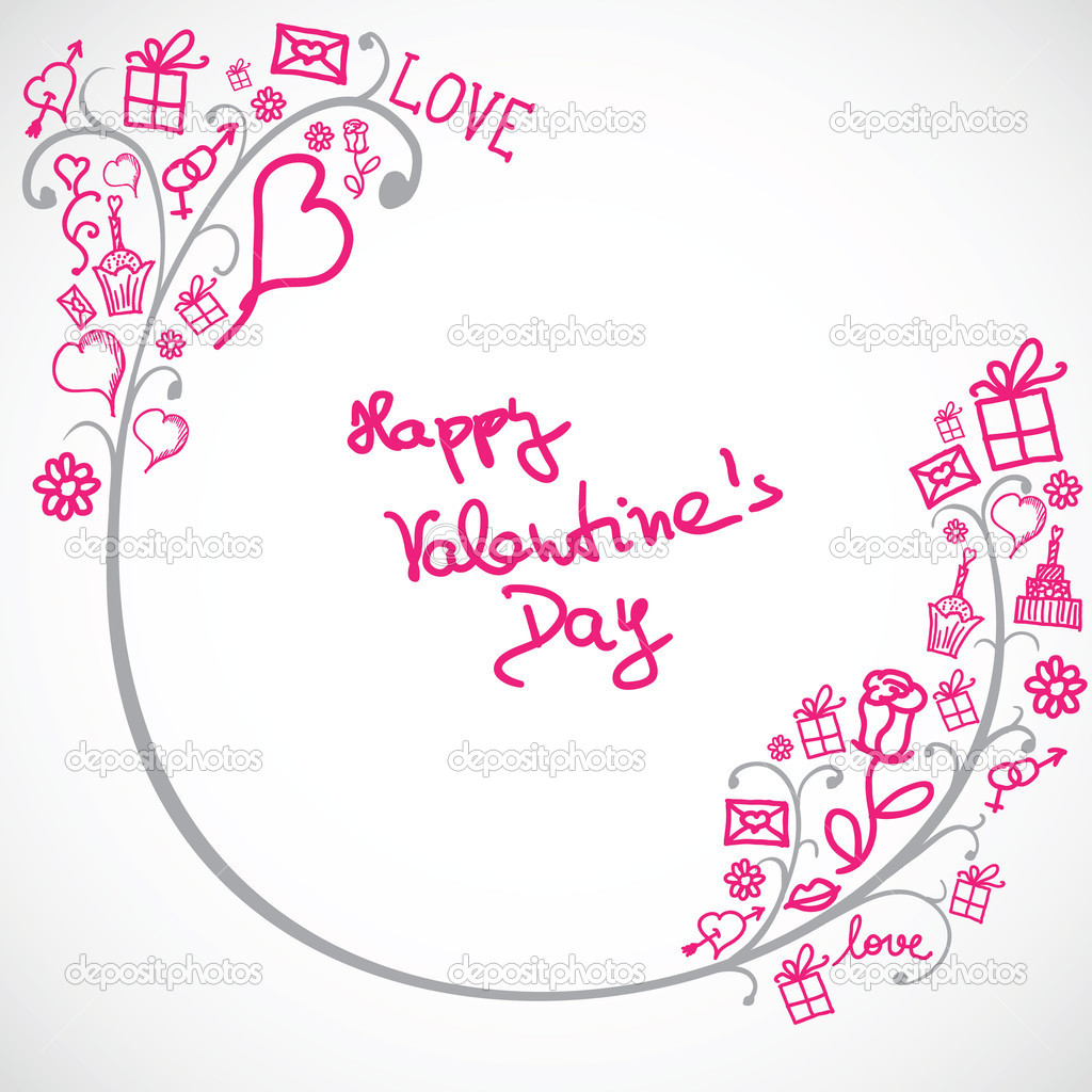 Abstract background with Valentine symbols — Stock Vector #8927205
