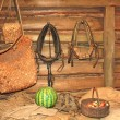 Pots in a peasant's hut — Stock Photo