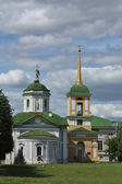 View of the church and belfry in Kuskovo estate — Stock Photo