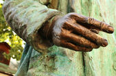 Detail of the bronze sculpture - a man's hand — Zdjęcie stockowe
