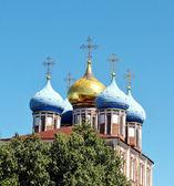 Dômes dorés du kremlin de riazan — Photo