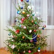 christmas tree with colorful decorations — Stock Photo