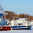 Stock Photo: River pier in winter