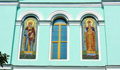 Icons on the churches wall — Stock Photo