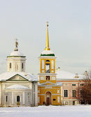View of the palace church with a bell tower in Kuskovo estate — Stock Photo