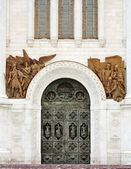 Entrance to the temple of Christ the Saviour Cathedral in Moscow — Stock Photo