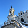 White stone church built in russian gothic style (pseudo gothic) - Stock Photo