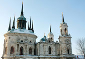 White stone church built in russian gothic style — Stock Photo