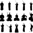 Kendo fighter silhouettes — Stock Photo