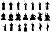 Kendo fighter silhouettes — Foto de Stock