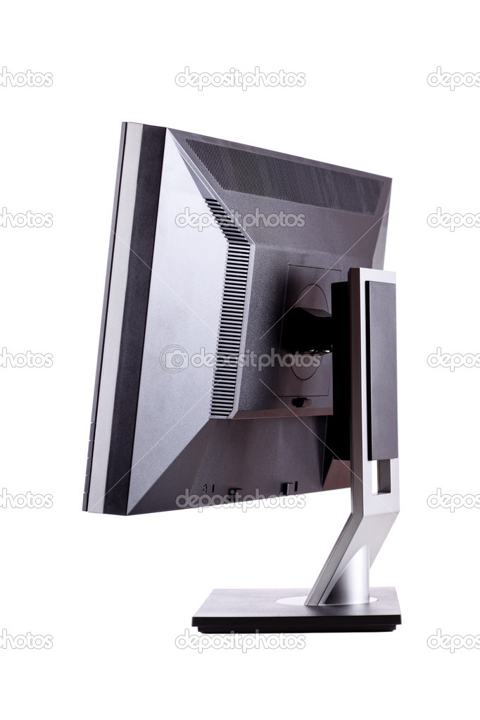 Professional ips panel lcd monitor, back side, isolated on white — Stock Photo #9586946