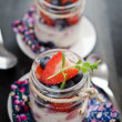 Fruit yoghurt - Stock Photo
