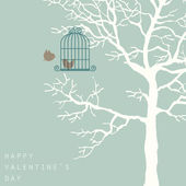 Love birds on tree — Stock Photo