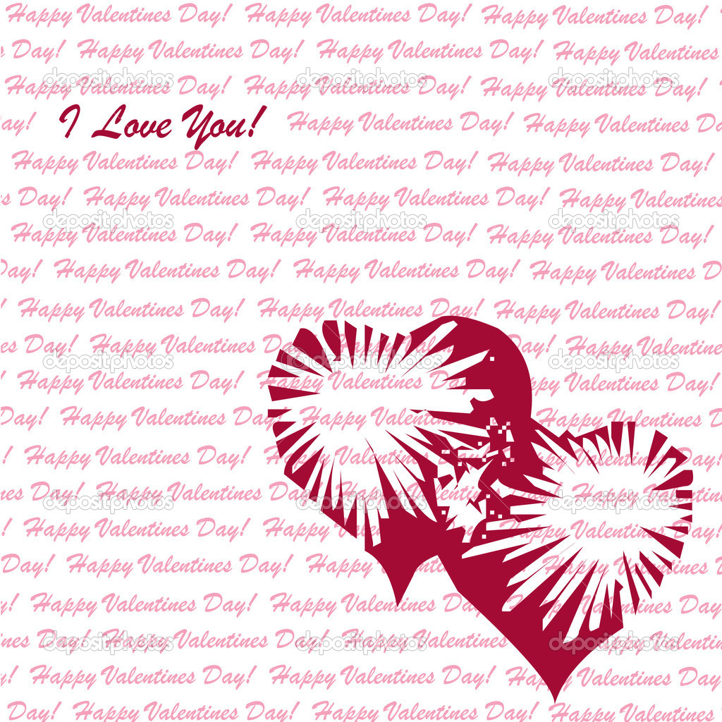 Valentines day vector background with abstract hearts  Stock Vector #8321728
