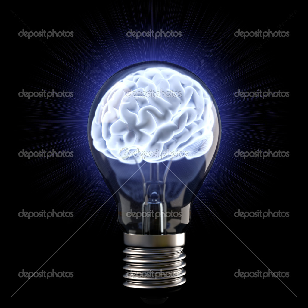 Brains in the light bulb. isolated on white. — Stock Photo #8992149