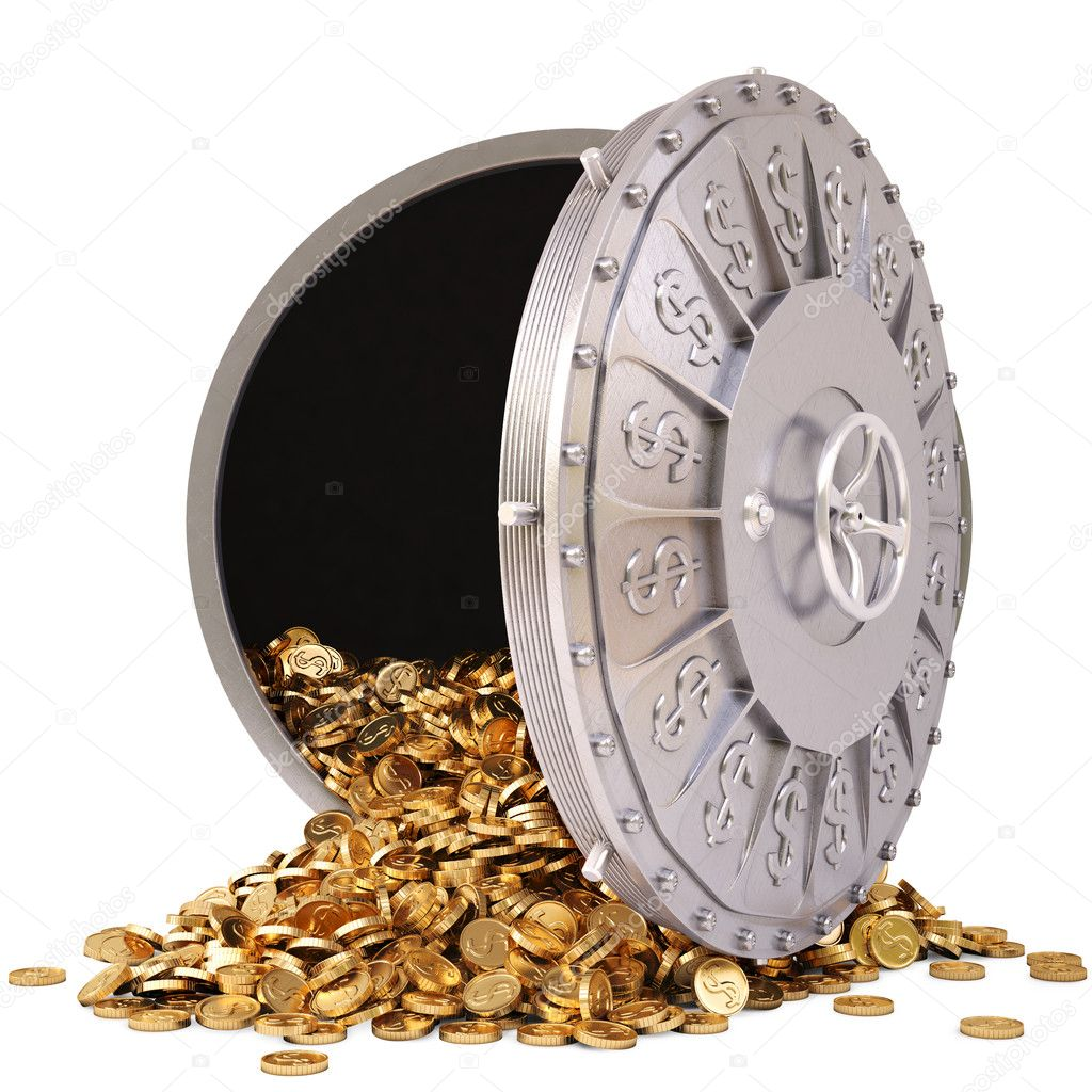Open a bank vault with a bunch of gold coins. isolated on white. — Stock Photo #8992201