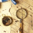 Stock Photo: Old navigation equipment, compass and other instruments