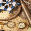 Old navigation equipment, compass and other instruments — Stock Photo #10496456