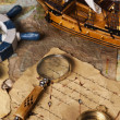 Old navigation equipment, compass and other instruments — Stok fotoğraf