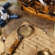 Old navigation equipment, compass and other instruments — Stock Photo