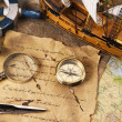 Old navigation equipment, compass and other instruments — Stock Photo #10496645