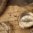Old navigation equipment, compass and other instruments — Stock Photo #10496655