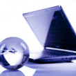 Blue Globe and Computer Keyboard — Stock Photo #10496749