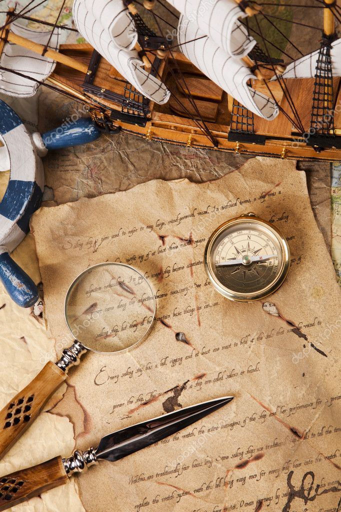 Old navigation equipment, compass and other instruments — Stock Photo #10496441