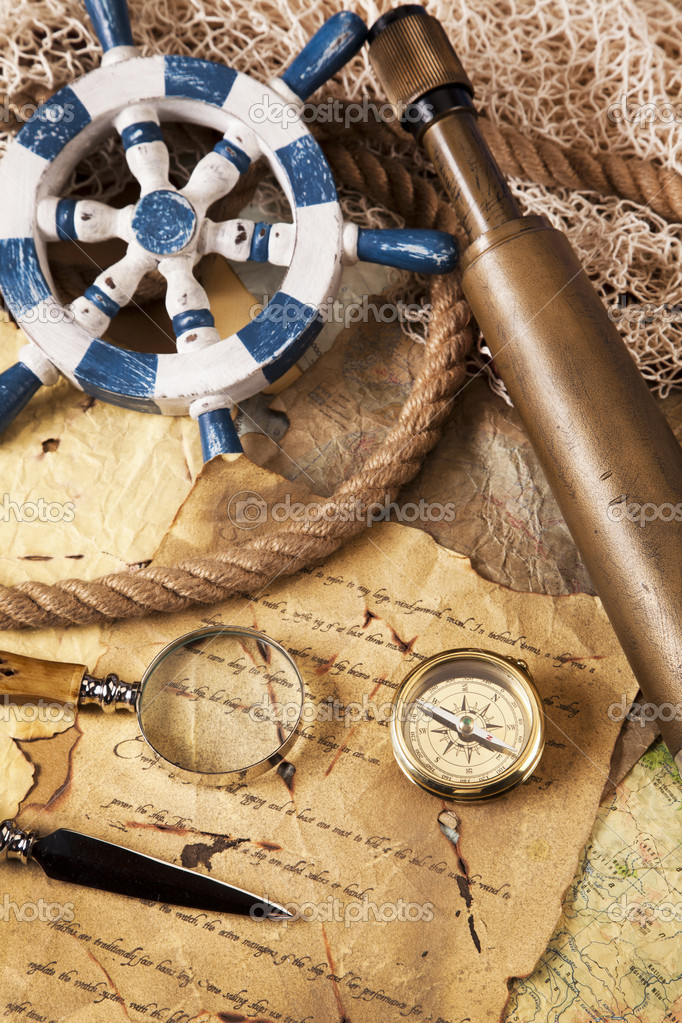 Old navigation equipment, compass and other instruments  Stock Photo #10496456