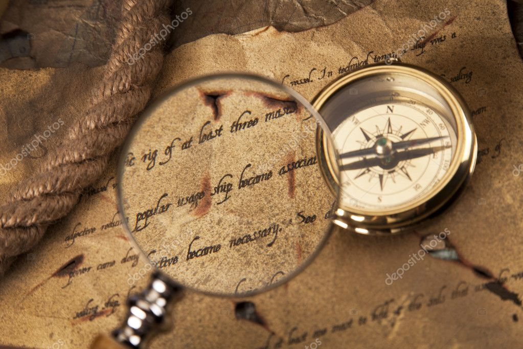 Old navigation equipment, compass and other instruments — Stock Photo #10496458