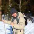 Young man cross-country skiing closeup — Stock Photo #8182162