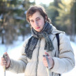 Attractive young man cross-country skiing (portrait) — Stock Photo #8182219