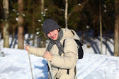 Young man cross-country skiing closeup — Stock Photo