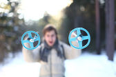 Skier is screaming in forest (focus on poles) — Stockfoto