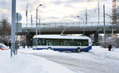 Traffic accident with trolleybus on slippery road — Stock Photo