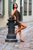 Gorgeous brunette in sexual pose in Old Riga — Stock Photo