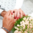 Bride and groom hand in hand together — Stock Photo #9524549