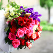 Colorful wedding bouquet of roses — Stock Photo