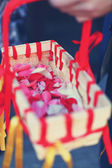 Wonderful wedding basket with petals — Stock Photo